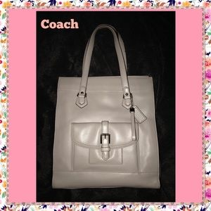 Coach Charlie Gray Saddle Leather Large Tote Bag